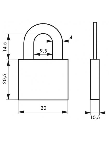 Cadenas à clé, bagage, 20mm, alu, anse acier nickelé, 2 clés - Serrurerie de Picardie Cadenas