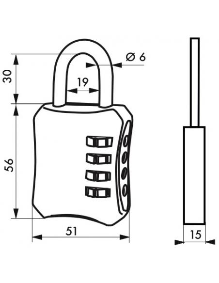 Cadenas à code, intérieur, 40mm, anse acier nickelé, 4 chiffres - Serrurerie de Picardie Cadenas