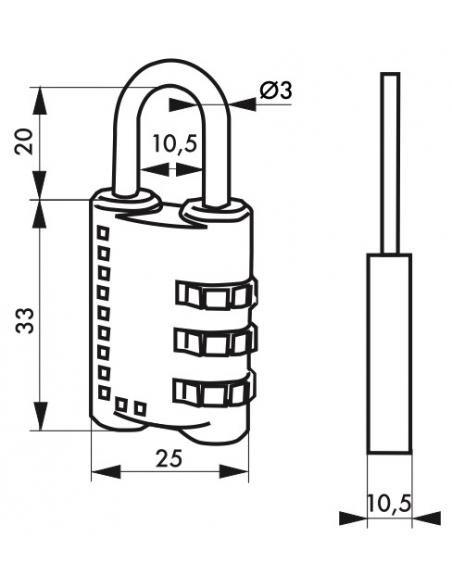 Cadenas à code, bagage, 25mm, anse acier nickelé, 3 chiffres - Serrurerie de Picardie Cadenas