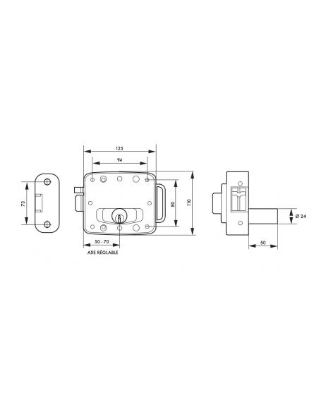 Serrure de sûreté horizontale à bouton et cylindre 50mm pour porte d'entrée, électrique, réversible, gris, 3 clés - THIRARD S...
