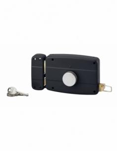 Serrure en applique à bouton pour porte de garage à battant, gauche, 140x90mm, axe 70mm, noir, 3 clés - THIRARD Serrure en ap...