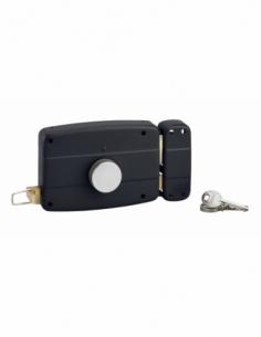 Serrure en applique à bouton pour porte de garage à battant, droite, 140x90mm, axe 70mm, noir, 3 clés - THIRARD Serrure en ap...