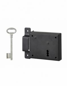 Serrure horizontale en applique à clé pour porte de cave, pêne seul, gauche, axe 60mm, 95x76mm, noir, 1 clé - THIRARD Serrure...