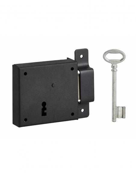 Serrure horizontale en applique à clé pour porte de cave, pêne seul, droite, axe 50mm, 85x76mm, noir, 1 clé - THIRARD Serrure...