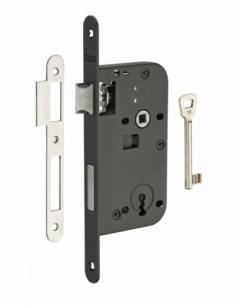 Serrure encastrable à clé pour porte de chambre, axe 50mm, bouts ronds, noir, 1 clé - THIRARD Serrure encastrable