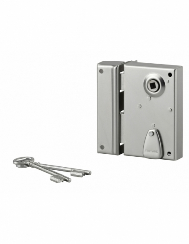 Serrure verticale en applique à clé à fouillot pour portail, gauche, axe 40mm, 70x110mm, saillie 5mm, zingué, 2 clés - THIRAR...