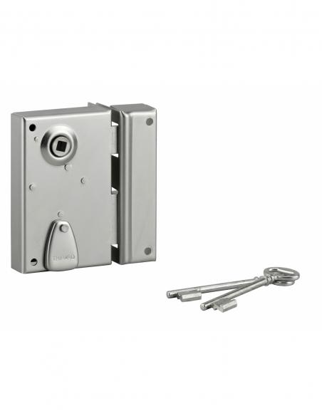 Serrure verticale en applique à clé à fouillot pour portail, droite, axe 40mm, 70x110mm, saillie 5mm, zingué, 2 clés - THIRAR...