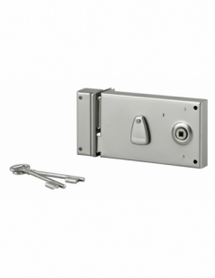Serrure horizontale en applique à clé à fouillot pour portail, gauche, axe 58mm, 140x80mm, saillie 5mm, zingué, 2 clés - THIR...