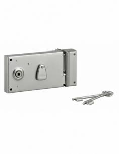 Serrure horizontale en applique à clé à fouillot pour portail, droite, axe 58mm, 140x80mm, saillie 5mm, zingué, 2 clés - THIR...