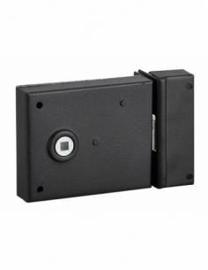 Serrure horizontale en applique à fouillot pour porte int., pêne 1/2tour seul, axe 45mm, carré 6mm, 95x76mm, noir - THIRARD S...