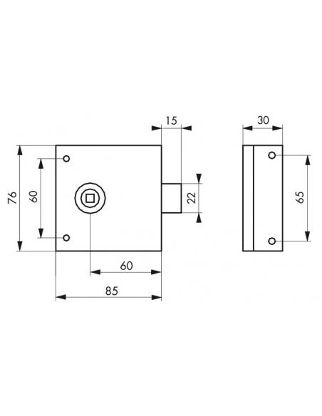 Serrure horizontale en applique à fouillot pour porte int., pêne 1/2tour seul, axe 45mm, carré 8mm, 85x76mm, noir - THIRARD S...