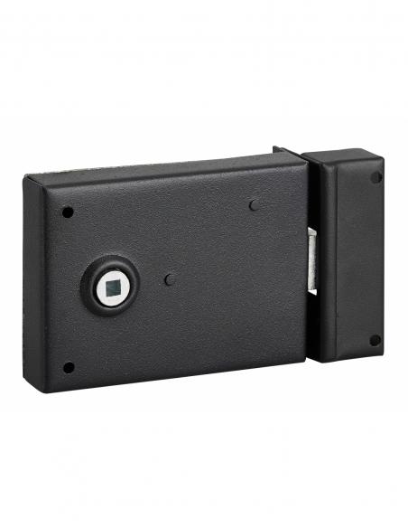 Serrure horizontale en applique à fouillot pour porte int., pêne 1/ tour seul, axe 45mm, carré 6mm, 110x76mm, noir - THIRARD ...