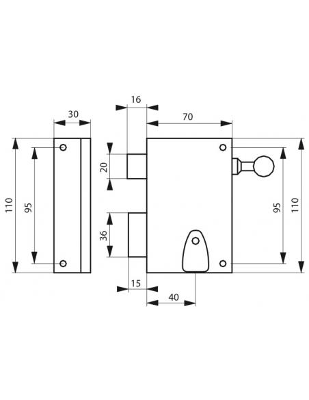 Serrure verticale en applique 4 gorges à tirage pour entrée, gauche, axe 40mm, carré 7mm, 70x110mm, noir, 2 clés - THIRARD Se...