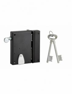 Serrure verticale en applique 4 gorges à tirage pour entrée, droite, axe 40mm, carré 7mm, 70x110mm, noir, 2 clés - THIRARD Se...