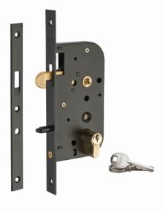 Serrure encastrable crochet à cylindre pour porte coulissante, axe 50mm, cylindre 30x30mm, bouts carrés, noir, 3 clés - THIRA...