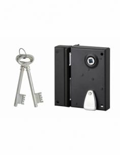 Serrure verticale en applique 4 gorges pour poignée pour entrée, droite, axe 40mm, carré 7mm, 70x110mm, noir, 2 clés - THIRAR...