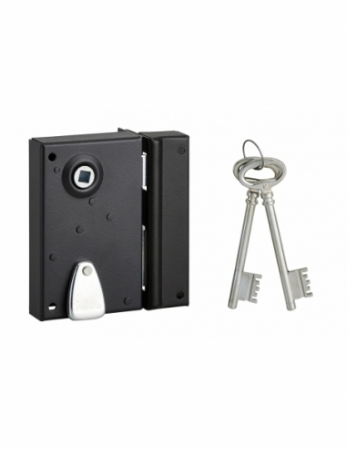 Serrure verticale en applique 4 gorges à fouillot pour entrée, droite, axe 40mm, carré 7mm, 70x110mm, noir, 2 clés - THIRARD ...
