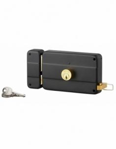 Serrure horizontale en applique double entrée à tirage pour porte d'entrée, gauche, 140x90mm, axe 70mm, noir, 3 clés - THIRAR...