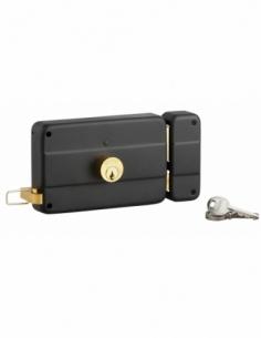 Serrure horizontale en applique double entrée à tirage pour porte d'entrée, droit, 140x90mm, axe 70mm, noir, 3 clés - THIRARD...