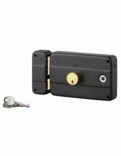 Serrure horizontale en applique double entrée à fouillot pour porte d'entrée, gauche, 140x90mm, axe 60mm, noir, 3 clés - THIR...