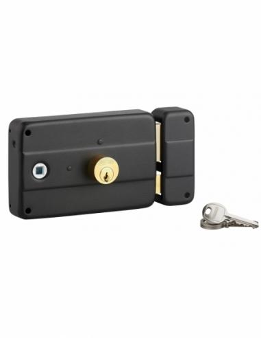 Serrure horizontale en applique double entrée à fouillot pour porte d'entrée, droit, 140x90mm, axe 60mm, noir, 3 clés - THIRA...