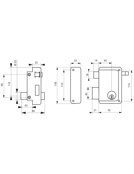 Serrure verticale en applique double entrée à tirage pour porte d'entrée, gauche, 76x130mm, axe 45mm, noir, 3 clés - THIRARD ...