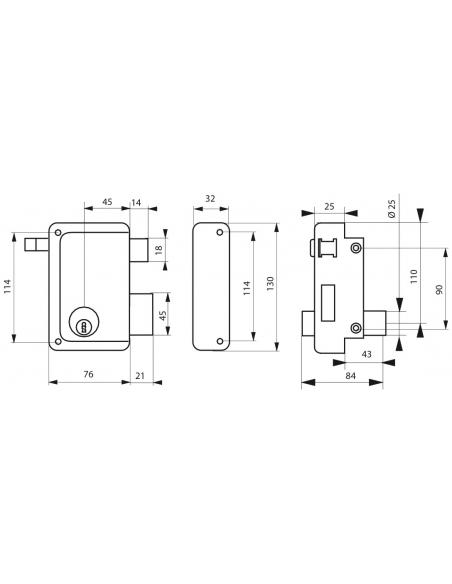 Serrure verticale en applique double entrée à tirage pour porte d'entrée, droit, 76x130mm, axe 45mm, noir, 3 clés - THIRARD S...