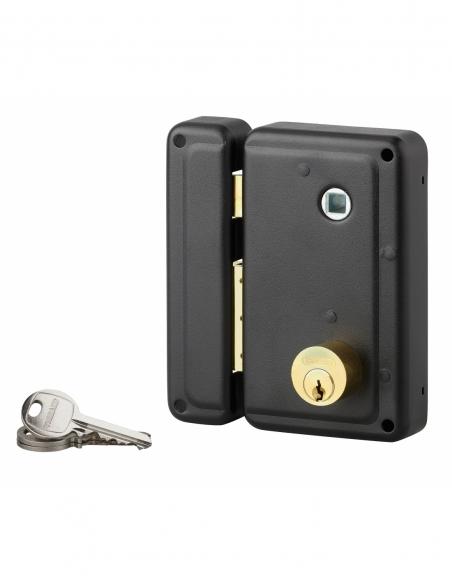 Serrure verticale en applique double entrée à fouillot pour porte d'entrée, gauche, 76x130mm, axe 45mm, noir, 3 clés - THIRAR...