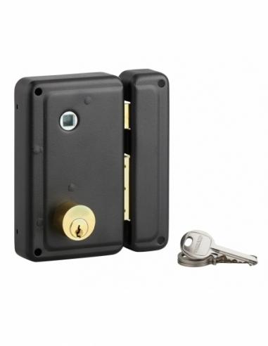 Serrure verticale en applique double entrée à fouillot pour porte d'entrée, droit, 76x130mm, axe 45mm, noir, 3 clés - THIRARD...