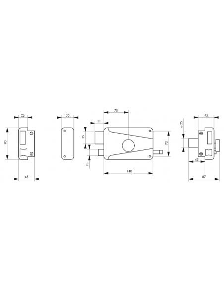 Serrure horizontale en applique à bouton à tirage pour porte d'entrée, gauche, axe 70mm, 140x90mm, noir, 3 clés - THIRARD Ser...