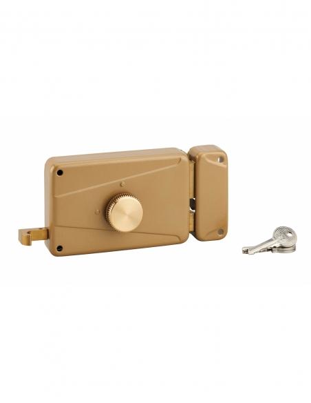 Serrure horizontale en applique à bouton à tirage pour porte d'entrée, droite, axe 70mm, 140x90mm, noir, 3 clés - THIRARD Ser...