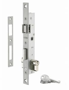 Serrure encastrable à cylindre pour menuiserie métallique, axe 16.5mm, bouts carrés, cylindre 30x30mm, zingué, 3 clés - THIRA...