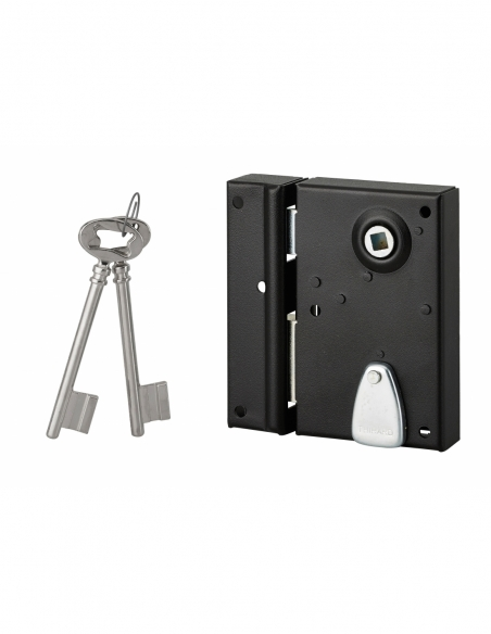 Serrure en applique à clé à fouillot pour porte int., gauche, têt. Affl., carré 7mm, axe 40mm, 110x70mm, noir, 2 clés - THIRA...