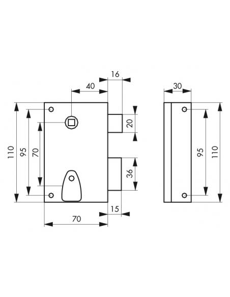 Serrure en applique à clé à fouillot pour porte int., droite, têt. affl., carré 7mm, axe 40mm, 110x70mm, noir, 2 clés - THIRA...