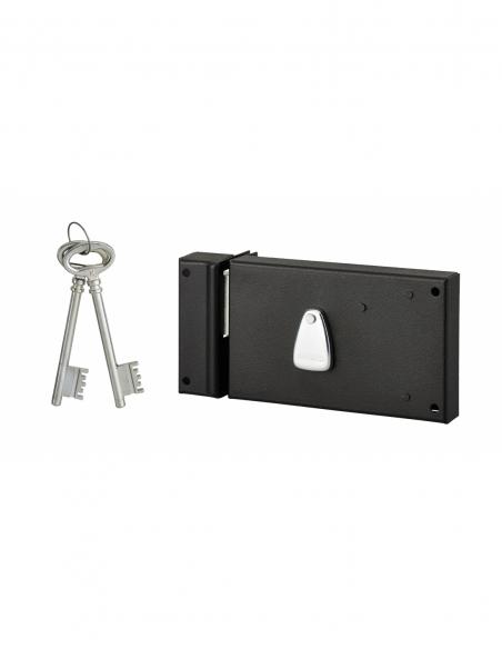 Serrure horizontale en applique 4 gorges pour porte d'entrée, gauche, axe 70mm, 140x82mm, noir, 2 clés - THIRARD Serrure en a...