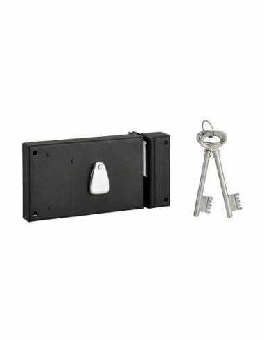 Serrure horizontale en applique 4 gorges pour porte d'entrée, droite, axe 70mm, 140x82mm, noir, 2 clés - THIRARD Serrure en a...