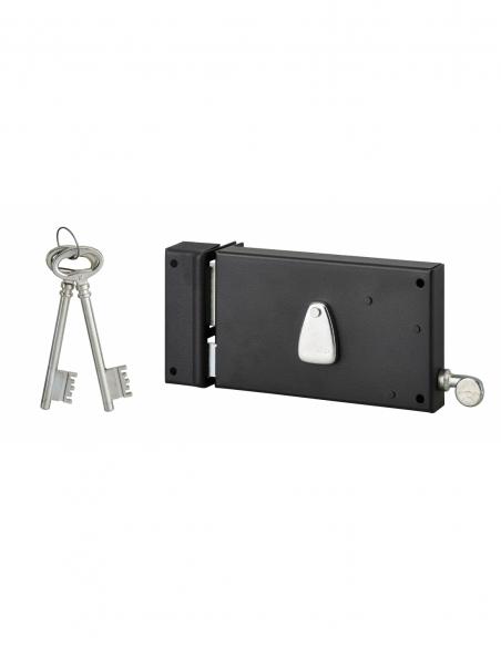 Serrure horizontale en applique 4 gorges à tirage pour porte d'entrée, gauche, axe 70mm, 140x82mm, noir, 2 clés - THIRARD Ser...