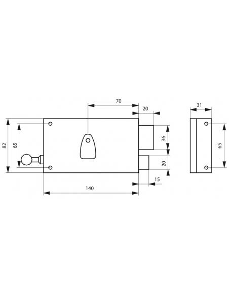 Serrure horizontale en applique 4 gorges à tirage pour porte d'entrée, droite, axe 70mm, 140x82mm, noir, 2 clés - THIRARD Ser...
