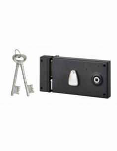 Serrure horizontale en applique 4 gorges à fouillot pour entrée, gauche, axe 58mm, carré 7mm, 140x82mm, noir, 2 clés - THIRAR...