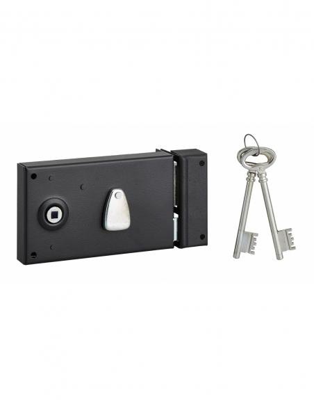 Serrure horizontale en applique 4 gorges à fouillot pour entrée, droite, axe 58mm, carré 7mm, 140x82mm, noir, 2 clés - THIRAR...