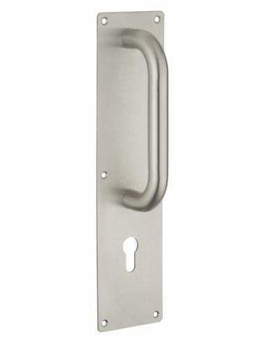 Poignée pour porte battante avec plaque inox, 300mm, pour cylindre profilé - THIRARD Poignée