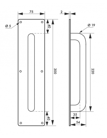 Poignée inox avec plaque, 300mm, satin - THIRARD Poignée