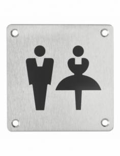 Plaque de signalisation WC Mixte , à visser, inox brossé, marquage noir, 100x100mm - THIRARD Signalétique