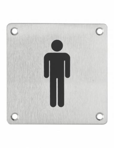Plaque de signalisation WC Homme , à visser, inox brossé, marquage noir, 100x100mm - THIRARD Signalétique