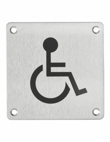 Plaque de signalisation WC Handicapé , à visser, inox brossé, marquage noir, 100x100mm - THIRARD Signalétique