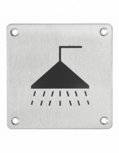 Plaque de signalisation Douche , à visser, inox brossé, marquage noir, 100x100mm - THIRARD Signalétique