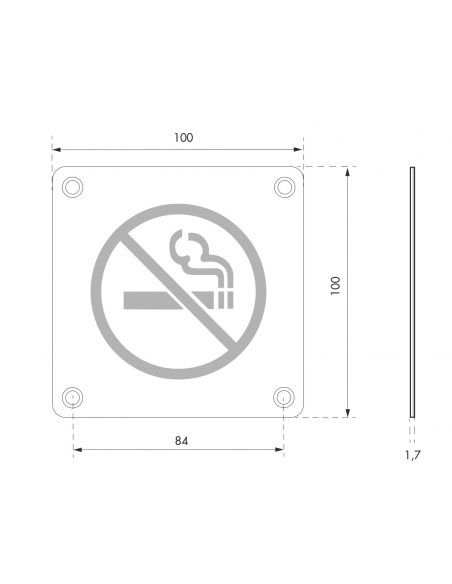 Plaque de signalisation Non Fumeur , à visser, inox brossé, marquage noir, 100x100mm - THIRARD Signalétique