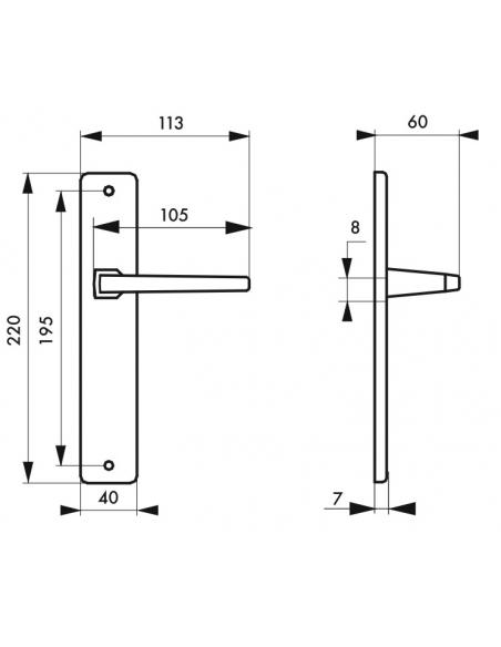 Ensemble de poignées pour porte intérieure Picardie sans trou, carré 8mm, entr'axes 195mm, couleur F2 - THIRARD Poignée