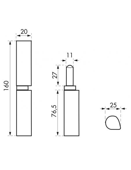 Charnière de porte d'entrée à souder, acier, 160mm, butée à billes - THIRARD Equipement