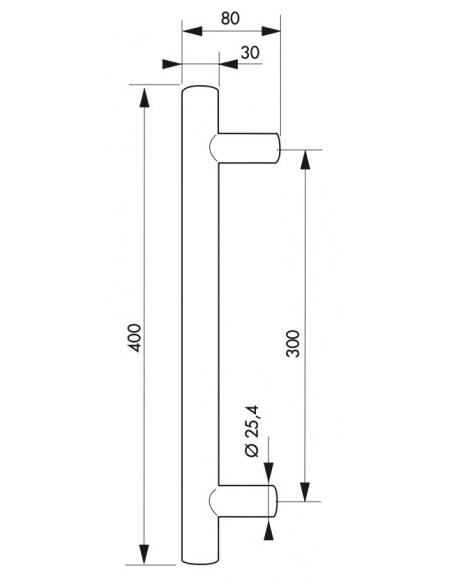 Paire de poignée pour porte battante, entr'axe 400mm, inox - THIRARD Poignée